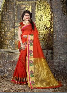 Red Colour Cotton Silk Woven Work Saree