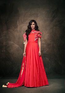 Red Colour Tapeta Silk Anarkali Salwar Suit