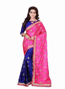 Satin Silk Pink And Blue Embriodery Half And Half Saree With Unstitched Blouse