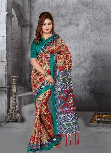 Turquoise And Red Colour Crepe Silk Patola Saree