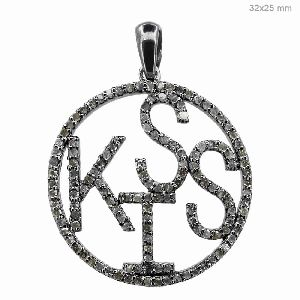 Silver Pave Diamond Kiss Pendant