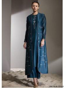 Blue Chanderi Embroidery Designer Salwar Kameez