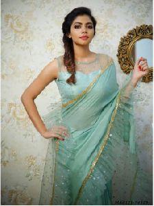 Blue Georgette Self Wedding And Bridal Designer Saree