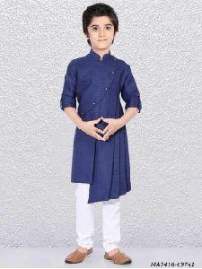 Blue Silk Self Kurta Pajama