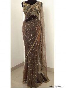 Brown Net Hand Work Bridal Designer Saree