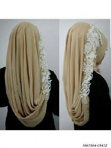 Cream Chiffon Self Party Hijab