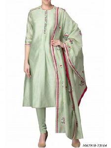 Green Chanderi Embroidery Designer Salwar Kameez