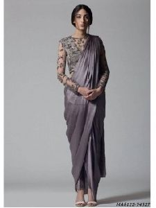 Grey Satin Hand Work Wedding And Bridal Designer Saree