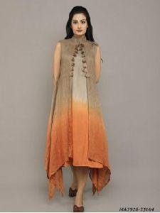 Multicolor Cotton Silk Solid Knee-long Kurti