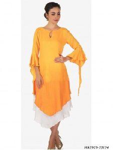 Orange Cotton Silk Knee-long Kurti