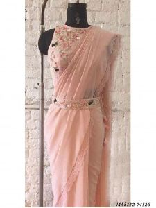 Peach Georgette Hand Work Wedding Designer Saree