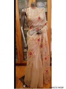 Peach Organza Hand Work Wedding Designer Saree