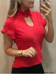 Red Cotton Self Western Wear Top