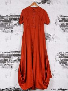 Red Cotton Silk Solid Party Knee-long Kurti