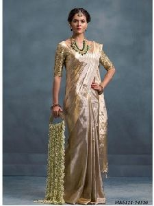 Silver Silk Hand Work Wedding And Bridal Designer Saree