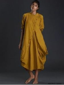 Yellow Cotton Solid Party Knee-long Kurti