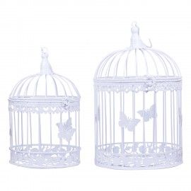 Wonderland white birdcage set of 2
