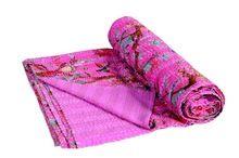 Traditonal Handmade Indian Kantha Quilt Floral Printed Cotton Blanket Gudari