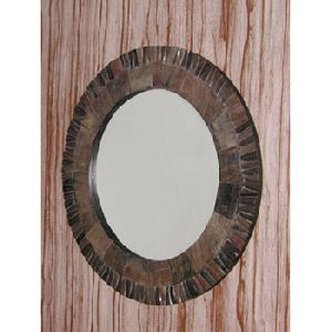 Large Frame Round Wooden Mirror for Bedroom