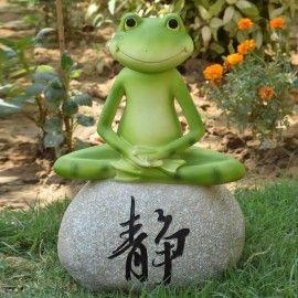 Frog Sitting 2 On Stone Garden Decor Statue