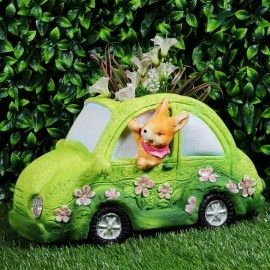 Green Car With Bunny With Pot, Planter