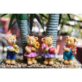 Poly Resin Brown Standing Teddy Bears, Mini/miniature For Bonsai Planter