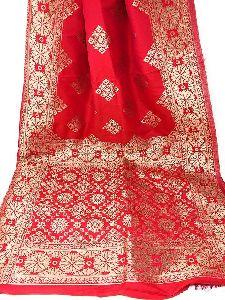 Banarasi Silk Dupatta In Red Pink Gold
