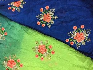 Chiffon Fabric By Meter Green Blue Shaded Gold Embroidery Dress Material Kurti