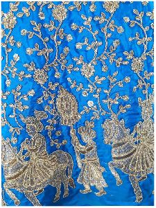 Cobalt Blue Paper Silk Fabric By Meter Gold Embroidery Dress Material