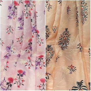 Printed N Embroidered Modal Satin Fabric