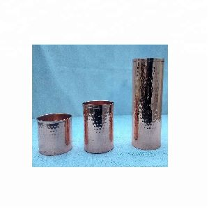 Hammered Large Copper Candle Cup
