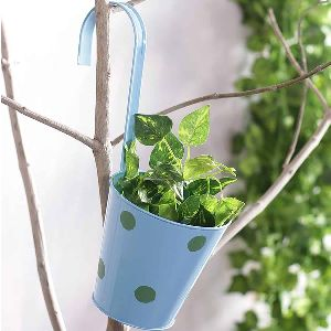 Blue Polka Dots Railing Planter Pot