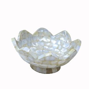 Large Flower Shape White Dry Fruit Bowl