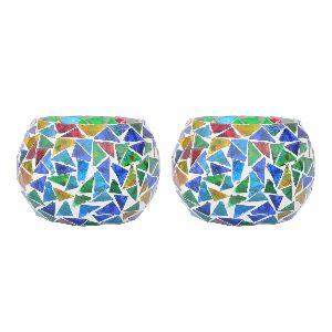 Two Multicolour Mosaic T Light Holders