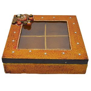 Wood And Paper Mache Dry Fruit Box With Kundan Work