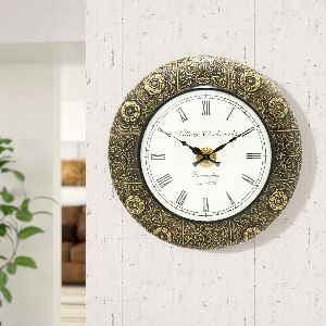 Wooden Full Brass Carving Work Wall Clock