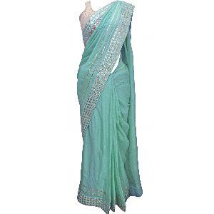 Silk Jacquard Metal Embellished Sari