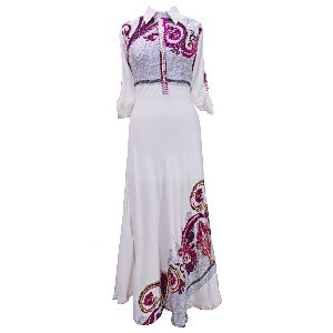 """White Collared """"a"""" Line Formal Dress"""