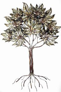 Metal Wall Decor Green/gold Color Tree