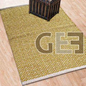 Beige Symmetric Pattern Hand Woven Cotton Rugs