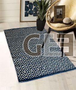 Blue Diamond Pattern Cotton Rugs