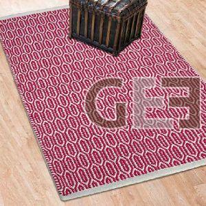 Pink Symmetric Oval Hand Tufted Cotton Plain Border Rugs