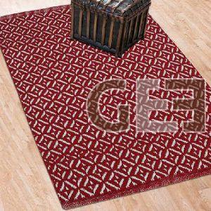 Red Hand Flat Woven Cotton Rugs