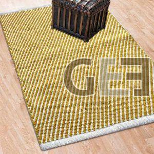 White & Gold Hand Woven Cotton Rugs