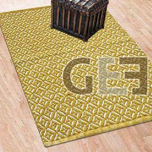 Yellow Hand Flat Woven Pattern Cotton Rugs