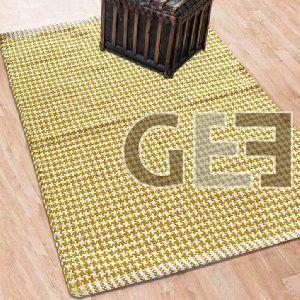Yellow Hand Woven Cross Stars Cotton Rugs