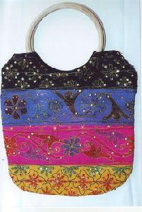 Cotton Embroidery Sequence Ladies Handbag