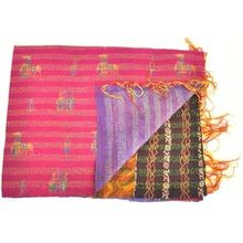 Vintage Kantha Silk Sari