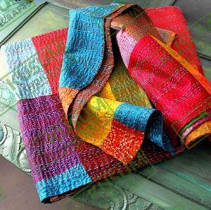 Kantha Silk Patchwork Quilt