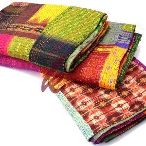 Patchwork Quilt Silk Bedspread